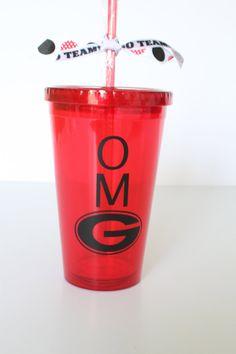 University of Georgia. OMG with UGA G. UGA Red insulated tumbler with black writing. Personalize with name monogram.. $12.50, via Etsy.