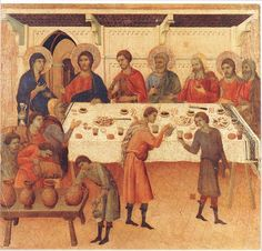 DUCCIO di Buoninsegna Wedding at Cana (detail) 1308-11 Tempera on wood Museo dell'Opera del Duomo, Siena