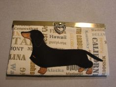 Diva wallet with wire dachshund applique by StitchedByShawn on Etsy
