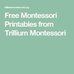 Free Montessori Printables from Trillium Montessori