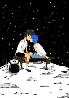 Astronaut Get Lost meets with Gurl from mars, they are kissing at the moon under thousand of stars.