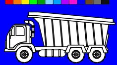 Construction truck colouring pages for kids to learn colors | Fun Colori...