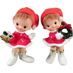 Vintage Holiday Girls – Ceramic Christmas Decorations – Old Norcrest Figurines