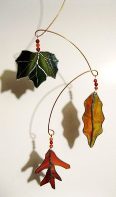 Turning Leaves Stained Glass Sun Catcher/ by GlassKissinCreations, $45.00
