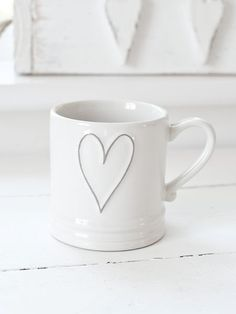white heart coffee mug. White Beige, Pure White, Grey, White Cottage, Cute Mugs, Shades Of White, Mug Cup, Coffee Cups, Tea Pots