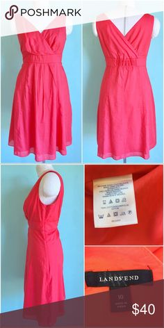 🔥SALE🔥Summer Cotton Fit and Flare Dress Beautiful Fit and Flare Dress by Lands'End Coral color, preowned in excellent condition. Size 10. Check out my closet, bundle and give me your offer! Lands' End Dresses