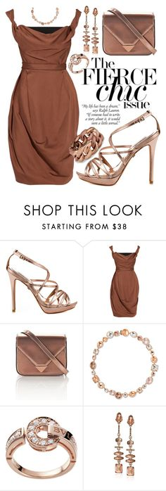 """Bronze Chic"" by alyssawui ❤ liked on Polyvore featuring Badgley Mischka, Vivienne Westwood Red Label, Larkspur & Hawk, Bulgari, Kenneth Cole and David Yurman"