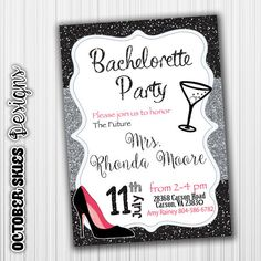 Bachelorette Party Invitation Black Chevron by OctoberSkiesDesigns