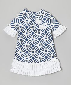 Navy Tile Pleated Shift Dress - Toddler & Girls by Trish Scully Child #zulily #zulilyfinds
