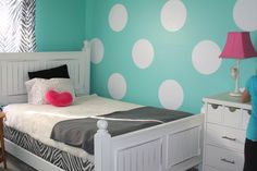 Redecorated Emma's room inspired by the polka dot room on Pinterest.