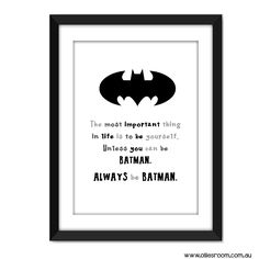 Always Be Batman Print | Typography Poster | Nursery Gift | Kids Decor | Monochrome www.olliesroom.com.au