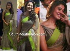 8th Annual Vijay TV Awards best actress winner Nayanthara attended the event wearing a light grey kota silk saree with neon green border, paired up with raw silk grey boat neck sleeveless blouse. She looked stylishly simple and elegant. Related PostsNayanthara at South Filmfare Awards 2014Nayanthara in Yellow SareeNayanthara in a traditional sareePriyanka Chopra @ …