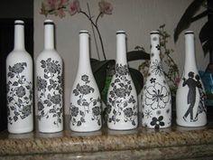 garrafa de vidro decorada com renda - Pesquisa Google