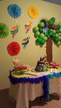 Rio themed birthday party party in 2019 гавайская вечеринка, Carnival Decorations, Carnival Themes, Birthday Decorations, Rio Party, Rio Birthday Parties, 2nd Birthday, Birthday Ideas, Brazil Party, Havana Nights Theme