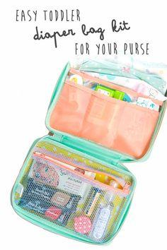 Easy Toddler Diaper Bag Kit for Your Purse Beauty Essentials, Diaper Bag Essentials, Kid Essentials, Diaper Bag Purse, Best Diaper Bag, Toddler Diaper Bag, Toddler Backpack, Baby Diaper Bags, Mini Diaper Bag