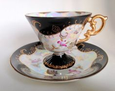 Black Iridescent Royal Sealy Teacup and Saucer / Japanese Tea Cup / Black White Gold Cup and Saucer / Japanese Tea Set with Pedestal Cup