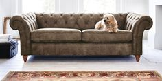 Buy Gosford Buttoned Leather Large Sofa (3 Seats) Santiago Mid Brown Low Turned - Light from the Next UK online shop