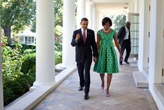 President Barack Obama and First Lady Michelle Obama walk along the Colonnade of the White House, Sept. 21, 2010. (Official White House Photo by Pete Souza)