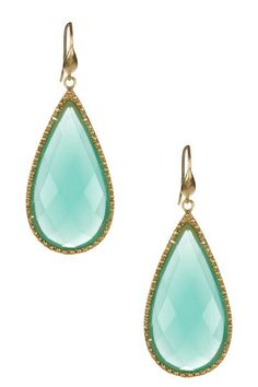 18K Gold Clad Mint Chalcedony Teardrop Earrings by Rivka Friedman on @HauteLook