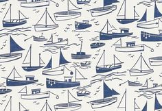 Sail Away - Harlequin Fabrics - A delightful simple boat motif fabric, which co-ordinates with the wallpaper but looks perfect on its own too. Shown in navy blue and neutral. Please request sample for true colour match. Summer Patterns, Pretty Patterns, Color Patterns, Fabric Wallpaper, Pattern Wallpaper, Boat Wallpaper, Nautical Wallpaper, Paper Scrapbook, Nautical Prints