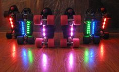 Cool LED lights that you adhere to the bottom of your skates! And voila! You have the perfect pair of Roller skates to wear at Roller Discos!