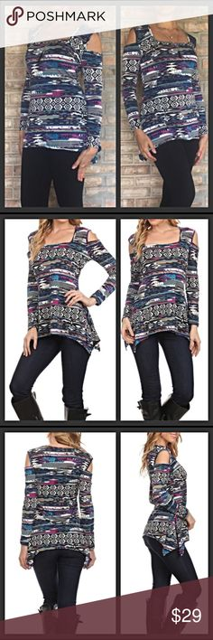 """Showstopper Cold Shoulder Abstract Tribal Top MLXL Be a showstopper in this unique, trendy & sexy cold shoulder long sleeve top. Flattering square neck & curved hem with nice stretch gorgeous abstract tribal-like print in black purple white blue & green-WOW❤️ 96% Poly/4% Spandex.  Please Note - Runs on smaller side Measurements laying flat:  Medium Bust 17.5"""" Length 26"""" Waist 14""""  Large Bust 18.5"""" Length 27"""" Waist 15""""  XL (Marked 1X) Bust 19.5"""" Length 28"""" Waist 16"""" Tops Tees - Long Sleeve"""