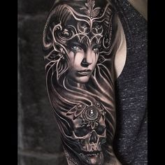 What does valkyrie tattoo mean? We have valkyrie tattoo ideas, designs, symbolism and we explain the meaning behind the tattoo. Skull Tattoos, Arm Tattoos, Body Art Tattoos, Sleeve Tattoos, Tatoos, Trendy Tattoos, Tattoos For Guys, Tattoos For Women, Norse Tattoo