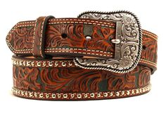 This genuine leather belt Ariat wide tapered belt by M&F Western Products® has a beautiful embossing on the entire belt, shield conchos and silver buckle.   eBay!