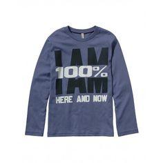 Camiseta de manga larga, de algodón liso, con estampado en la parte delantera.