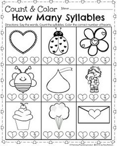 Kindergarten syllables worksheet for February. Say the word. Count the syllables, and color the correct heart. So many fun printables at this link.