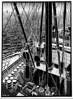 One of Escher's earlier pieces showing his skill at printing - this is the boat he adventured on. Escher Drawings, Escher Art, Mc Escher, Escher Prints, Art Nouveau, Dutch Artists, Wood Engraving, Weird World, Linocut Prints