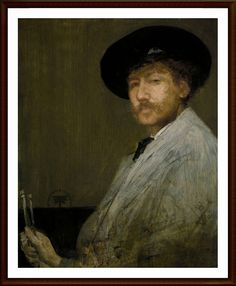 """James McNeill - 1872 Portrait of the Painter. Arrangement in Grey. """"self portrait"""" by james mcneill whistler portrait"""" by james mcneill whistler James Abbott Mcneill Whistler, Winslow Homer, Oil Painting Reproductions, Art For Art Sake, Renoir, Famous Artists, Caravaggio, American Artists, Artist At Work"""