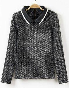 Grey Contrast PU Leather Lapel Tweed Blouse - Sheinside.com
