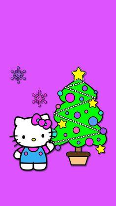 Hello Kitty Christmas on purple background. Wallpaper or gift tag. Hello Kitty Art, Hello Kitty My Melody, Hello Kitty Pictures, Sanrio Hello Kitty, Hello Kitty Iphone Wallpaper, Hello Kitty Backgrounds, Kawaii Wallpaper, Hello Kitty Christmas, Pink Christmas
