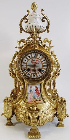 Hand Painted Sevres Porcelain 19th Century French Mantle Clock By S. Marti Of Paris, In solid Bronze  With Lovely Details And Designs, Having Hand Painted Porcelain Panels In The Manner Of Sevres/Paris Porcelain   c.1890