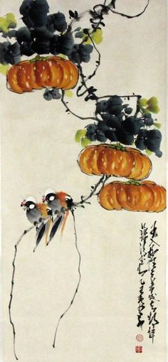 "Chinese Scroll Painting Manner of Zhao Shaoang. Polychrome painting depicting two birds perched in pumpkins, with two lines of calligraphy and 2 red seal marks, 23"" W x 62"" L."