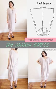 Cocoon Dress | Free Sewing Pattern | I found this free sewing pattern online and thought I'd try it out! The fabric is a very soft knit, making this dress very cozy to wear. Here's a code to get 15% off my ebooks:  PINTEREST15