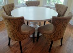 Custom Made Round Pedestal Table with Carved Edge by Scott Dworkin Designs | CustomMade.com