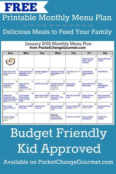Delicious meals to feed your family in the Printable January Monthly Menu Plan! Budget friendly meal plan - Kid approved! Print out your FREE copy today!