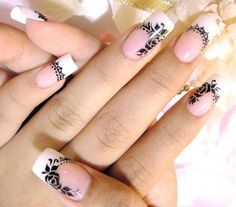 Floral nail art French Tips, French Tip Nails, Floral Nail Art, Nail Decals, Flower Nails, Holiday Nails, Winter Nails, Manicures, Fun Nails