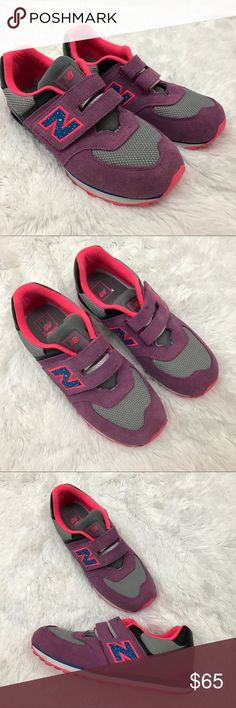 New Balance 574 retro style sneakers Sz 7 These New Balance 574 Retro Style Sneakers are a purple gray and pink multicolor with a hook and loop closure buckle. They are a women's size 7 and are a fun and funky shoe to make a fashion statement while exercising! In excellent preowned condition with no major flaws, a couple light discolored marks on suede (most noticeably on hook and loop fastener buckle (see image). Worn only a couple times. New Balance Shoes Sneakers