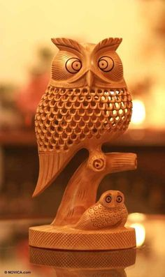 Latticework Owls Original Hand Carved Wood Jali Sculpture NOVICA India