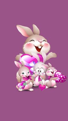 Rabbit family 1 wallpaper by Ninoscha - 63 - Free on ZEDGE™ Happy Easter Wallpaper, Wallpaper Iphone Cute, Wallpaper Backgrounds, Phone Wallpapers, Easter Bunny Pictures, Bunny Images, Easter Cartoons, Rabbit Wallpaper, Easter Art