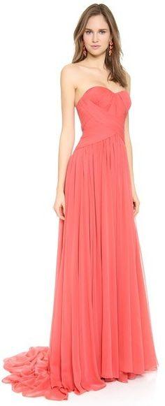 Marchesa Strapless Silk Chiffon Gown was $5,995.00 now $1,798.50