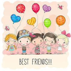 Illustration about Three Cute cartoon girls and two boys with balloons. Illustration of kindergarten, drawn, brown - 93123112 Drawing For Kids, Art For Kids, Crafts For Kids, Cartoon Drawings, Cute Drawings, Cartoon Art, Cute Images, Cute Pictures, Cartoon Mignon