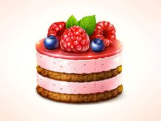 Great work from a designer in the Dribbble community; your best resource to discover and connect with designers worldwide. Cake Drawing, Food Drawing, Food Texture, Chibi Food, Food Icons, Painted Cakes, Food Illustrations, Cute Food, Yummy Cakes