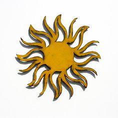 "SUN Wall Art - 36"" Metal Garden Art - indoor outdoor - yellow with rust patina on Etsy, $125.00"