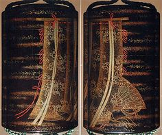 "Case (Inrô) with Design of Curtains of State and a Woman's Fan  Koma Koryû  (Japanese, active 1770–1790)  Period: Edo period (1615–1868) Date: late 18th–19th century Culture: Japan Medium: Roiro (waxen) lacquer with decoration in togisashi sprinkled and polished lacquer; Ojime: gold lacquer bead; Netsuke: ivory ""Dream of a Clam"""