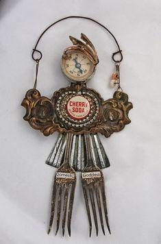 Reserved for Kathy Arte Robot, Robot Art, Robots, Found Object Art, Found Art, Recycling, Art Antique, Art Brut, Recycled Art