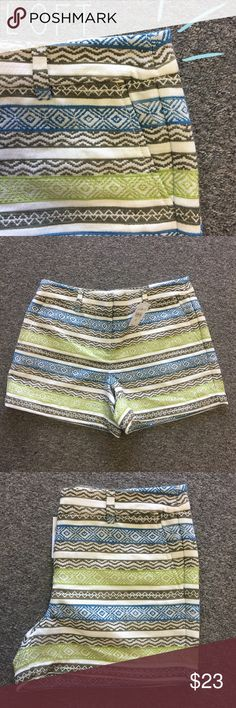 "NWT Loft Aztec Embroidered Shorts | Size 8 New with tags Loft shorts, size 8. Have a striped design of all embroidered patterns. Waist measures 17"" with a 4"" inseam. Slide clasp and zip closure. No holes, stains, or snags. LOFT Shorts"